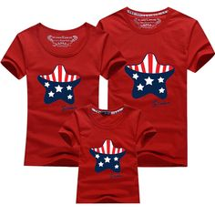 Family T Shirt Summer America flag star printed t shirts Fashion Mother/father and Daughter/son T-shirt  Family Matching Outfits