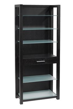 Enticing Black Wooden Shelving Unit Idea with Tall Design and Glass Shelves and One Drawer with Silver Handle Idea