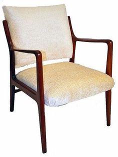 Great Swedish Mid-Century Modern Walnut Arm Chair, New Upholstery