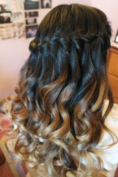 Curly hair.... dip dyed.....  fading colour....... curled...... waterfall  braid....