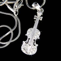 Swarovski Crystal Violin Viola Cello Fiddle Musical Charm Pendant Necklace Christimas Best Friend Gift  New on Etsy, $39.41 AUD