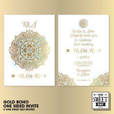 Wedding Invitations, Gold Boho, Watercolor, Boho wedding, Bohemian, Mandala, Unique, Printable, DIY print by OneSweetDayInvites on Etsy