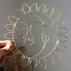 Sun and Moon Wall Hanging / Wire Modern Wall Hanging / Home decoration / Wire Sun and Moon / Wire Sun Wall hanging / Wall Decor / Home Decor by AndreyaMx on Etsy Wire Jewelry Designs, Handmade Wire Jewelry, Wire Wrapped Jewelry, Bijoux Fil Aluminium, Wire Crafts, Crafty Craft, Wire Art, Hanging Wire, Diy Earrings