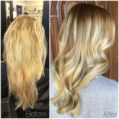 Before and after: Platinum to beachy blonde Balayage highlights and lowlights with a low maintenance halo root.. topped off with long layers and loose summer pretty curls. #StyledByKate | nstagram: StyledByKate_