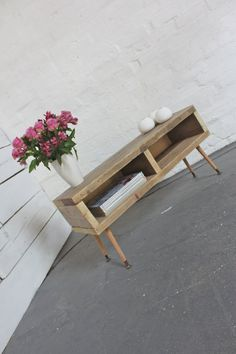 Reclaimed Scaffolding Board Media Unit or Coffee Table with Recycled Retro Legs - Bespoke Urban Furniture by www.inspiritdeco.com