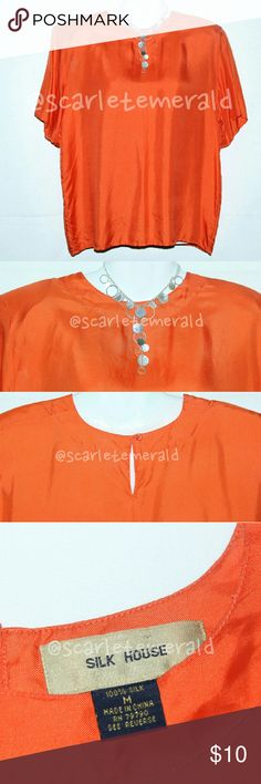 🌺ORANGE SILK SHELL BLOUSE ✔ EUC ✔ ✔GENTLY WORN✔  Summer Style Loose Silk T-shirt  Style Blouse  This favorite classic silk shell is styled in a gem-like silk twill that has a rich elegant glow. This easy... versatile blouse will stand out on any occasion and will go a long way with many different outfits.  Also will last for a very long time. 🚫STAINS 🚫 HOLES 🚫 RIPS Tops Blouses