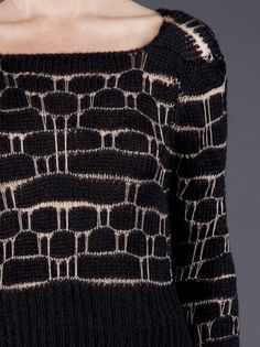 Loose knit sweater with woven pattern; contemporary knitwear details // Ann Demeulemeester