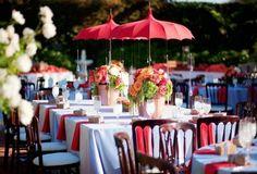 red parasol tablescape