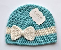 {Inspiration Only} Crochet Newborn Bow Band Beanie
