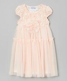 Fouger for Kids Peach Rosette Babydoll Dress - Toddler & Girls | zulily