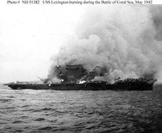 USS Lexington (CV-2) burning during the Battle of Coral Sea (1942)