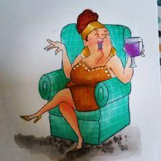 Art Impressions: Ai Wine Diva, Hampton Art clear set from Michael's ... handmade birthday girlfriends card.