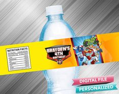 Rescue Bots Birthday Water Bottle Label