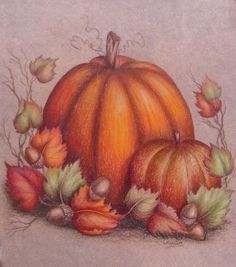 Pumpkin, Gourd, Fall Leaves & Acorns