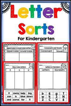 Letter sorts for Kindergarten! Great for Literacy Centers, small group work, homework and independent practice! Teaching Letter Sounds, Teaching Letters, Teaching Writing, Teaching Ideas, Teaching Resources, Learning Sight Words, Sight Word Activities, Kindergarten Names, Teaching Kindergarten