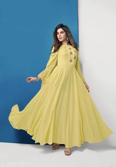Checkout this latest Kurtis Product Name: *Women Georgette Gown Solid Yellow Kurti* Fabric: Georgette Sleeve Length: Long Sleeves Pattern: Solid Combo of: Single Sizes: M (Bust Size: 38 in, Size Length: 46 in)  L (Bust Size: 40 in, Size Length: 46 in)  XL (Bust Size: 42 in, Size Length: 46 in)  XXL (Bust Size: 44 in, Size Length: 46 in)  XXXL Country of Origin: India Easy Returns Available In Case Of Any Issue   Catalog Rating: ★4.1 (4844)  Catalog Name: Women Georgette Gown Solid Yellow Kurti CatalogID_1943687 C74-SC1001 Code: 777-10611194-0552