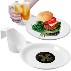 New Orleans Saints Ultimate Tailgate plates! holds drinks and food with just one hand