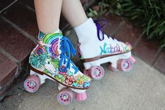 Custom Unicorn Peace signs Rainbows and Flowers Painted on Your Skates Design Fee only. $125.00, via Etsy.