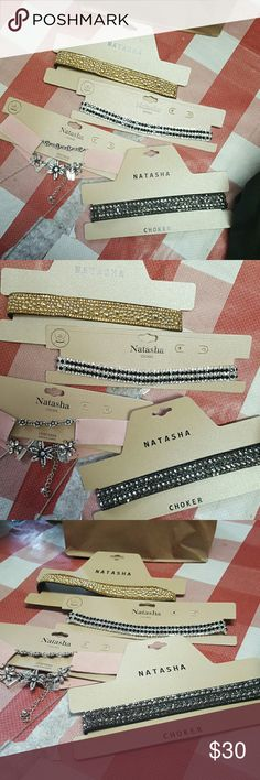 NWT!Chockers NWT!FOR SALE OR TRADE! I wish I could catch the beautiful Sparkle and all of these Jokers. They are $49 retail each,so $20 on here or I will give a better deal if you are buying more than one. One is black and clear rhinestones and sparkles like crazy. The other is a leather band with black and champagne rhinestones, next one is gold with gold beads, gold Sparkles and gold rhinestones and lastly pink suede with gorgeous Flowers with white rhinestones and a long silver chain.MAKE…