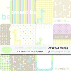 Journal Cards Project Life 26 Cards Sweet Baby Giraffes by DreamingOnAStar, €3.75