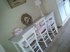 Handmade kitchentable with vintage shabby chairs and lovely pink accessoires
