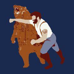 tshirt tee Man Punching Bear Men's t-shirt sizes by sharpshirter