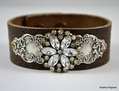 Brown Leather Cuff Bracelet with Silver Stamping and Rhinestone Medallion by RueRueOriginals on Etsy