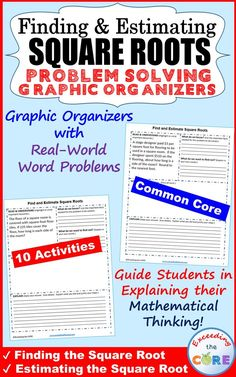 Get your students successfully understanding and solving SQUARE ROOTS word problems with these PROBLEM SOLVING GRAPHIC ORGANIZERS.  This resource includes 10 problems solving graphic organizers with real-world SQUARE ROOTS word problems that students must solve and explain using problem-solving strategies.  Topics Covered: ✔️ Find Square Roots of Perfect Squares ✔️ Estimate Square Roots Perfect for math homework and math stations. 8th grade common core 8.EE.2
