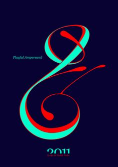 #Playful #Ampersand. #Moshik Nadav #Typography.        #ampersands #experimental #typography #typo #font #fonts #type #fashion #sleek #deep #hues #graphic #art #mint #red #navy