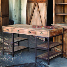 Love this desk.   We're talking solid state storage! The thick box top is crafted of wood while the base is metal framing with plank wood shelving. Drawers have...