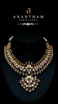 Kundan necklace with ruby and emerald suspended with gold beads by Anantham Jewellers Gold Jewellery Design, Gold Jewelry, Jewelery, Antique Necklace, Gold Necklace, Indian Jewelry Sets, Wedding Jewelry, Fashion Jewelry, Uncut Diamond