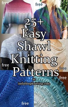 Easy knitting patterns for shawls. Most are free. Many suitable for beginners