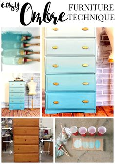 Ombre Painted Furniture Technique – Refunk My Junk – Diy Furniture Ideas Furniture Painting Techniques, Paint Furniture, Furniture Projects, Furniture Makeover, Home Furniture, Paint Techniques, Furniture Dolly, Luxury Furniture, Modern Furniture