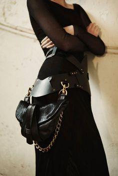 Belt Bag by Gabriella Marina Gonzalez Grunge Goth, Belt Purse, Belt Bags, Belt Pouch, Clutch Bags, Fashion Bags, Womens Fashion, Leather Belt Bag, Shoe Collection