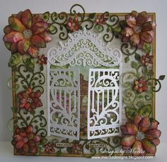 Designs by Marisa, Heartfelt Creations June Release - Precious Memories Card with gate and flowers Heartfelt Creations Cards, Card Making Designs, Window Cards, Shabby, Beautiful Handmade Cards, Sympathy Cards, Greeting Cards, Pretty Cards, Card Tags