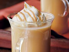 Caramel Apple Cider (1/3 cup packed brown sugar 1/3 cup whipping cream 1 tsp vanilla 4 cups apple cider)