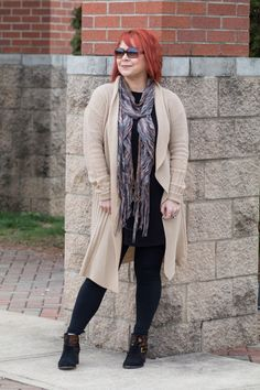 Shein Camel Cardigan, Black Leggings Look, Floral Booties, Neutral Witer Style, Fashion for women, Winter Style for Women, Fashion over, Henna Red Hair, Camel and Black, OOTD, Lookbook, 40 Plus Style, A Pocketful of Polka Dots