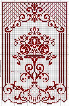 Small Cross Stitch, Cross Stitch Rose, Cross Stitch Flowers, Cross Stitch Designs, Cross Stitch Patterns, Crochet Curtain Pattern, Crochet Curtains, Crochet Tablecloth, Basic Embroidery Stitches