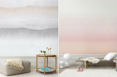 (Photos courtesy Sandberg) This season, Swedish-based interiors company Sandberg debuts Carl, a striped wallpaper collection inspired by the country's winter landscapes. Our two favorites come from. Watercolor Wallpaper, Watercolor Walls, Striped Wallpaper, New Wallpaper, Creative Walls, Wall Treatments, Cool Walls, Designer Wallpaper, Scandinavian Design