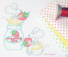 Strawberry Snookers - Hand Embroidery Design The mouseys have gotten into the strawberry jam and are having a berry fun afternoon! Such cute plump bottoms, that get stuck in the jam jar! A Great Design to Stitch for a bag, basket or a tea towel. Fun Gift Idea!  PDF Pattern: 7 Pages Mouse Design = 3 Sizes 3.25 w X 5.50 h 3.00w X 4.25 h (not pictured) 3.25 w X 3.25 h  Includes: Design Sheet actual size + Mirror Image Item List - Fabric Preparation DMC 6 Strand Floss Reference By Number &am...