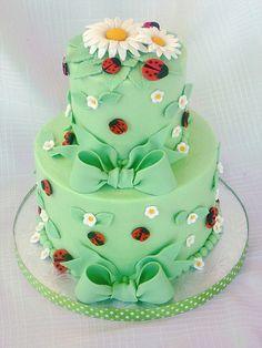 Ladybug baby shower cake by springlakecake