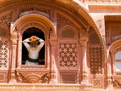 Photographic Print: Man in Window of Fort Palace, Jodhpur at Fort Mehrangarh, Rajasthan, India by Bill Bachmann : India Palace, India Poster, King Cobra, State Of Florida, Rajasthan India, Jodhpur, Travel Alone, Architecture Details, Trip Planning