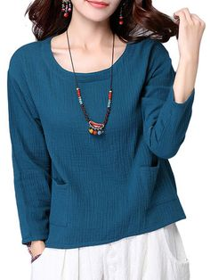Vintage Solid Linen Cotton Long Sleeve Round Neck Loose Women T-Shirt