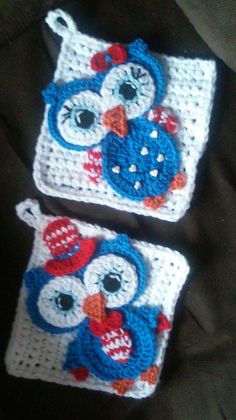 Crochet Boy Girl Patriotic Owl Potholder by 3ThreadinBettys