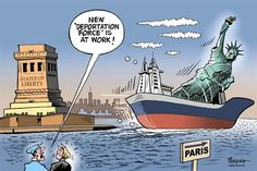 Deporting Lady Liberty Cartoons Show How the Rest of the World Views Trump's First Month in Office