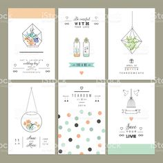 Hand drawn collection of romantic trendy invitations. royalty-free stock vector art