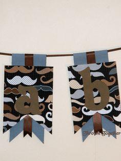 mustache baby banner