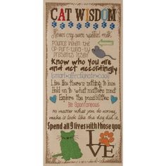 """Cat Wisdom Counted Cross Stitch Kit-7""""X16"""" 28 Count"""