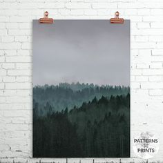 Winter forest Minimalist forest print van PATTERNSxPRINTS op Etsy