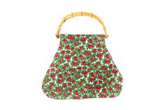Handbag made of vintage fabric in green and red.